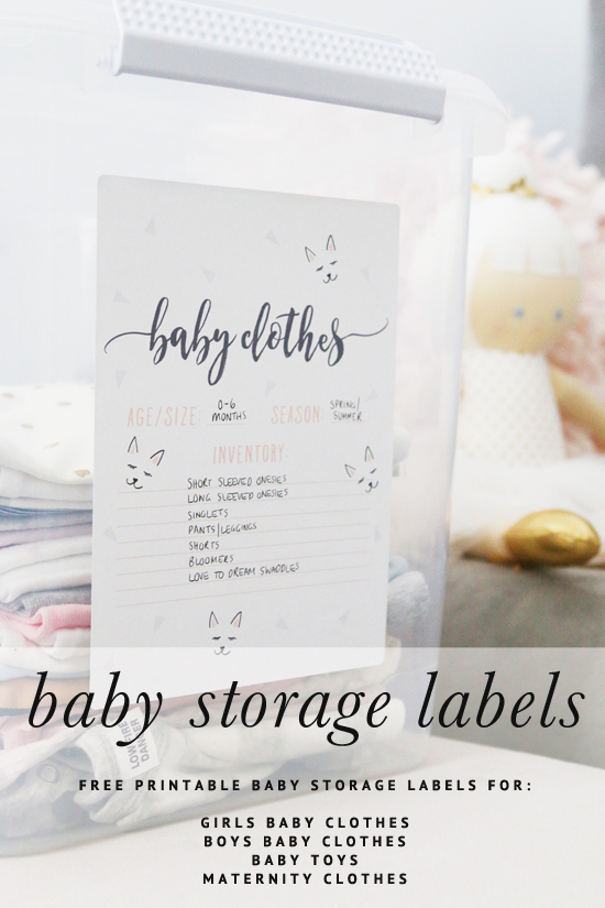 The BEST tips and tricks to store your baby clothes, toys and maternity gear for future use - including 4 free printable baby clothes storage labels.