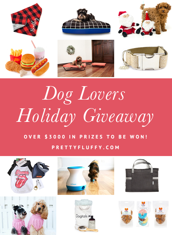 Enter the Pretty Fluffy Holiday Giveaway. Over $3000 in prizes to be won for dogs and their owners - including dog beds, collars, treats, and much more!