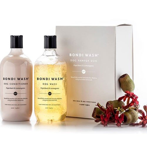 The Bondi Wash Dog Shampoo range features Australian essential oils to make a gentle wash, conditioner & dry shampoo for a healthy glossy coat.
