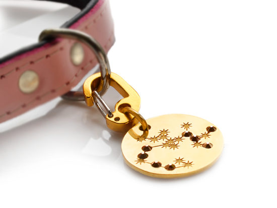 Zodiac PugPendants by Canine Chic of London - Astrological Dog Tags. Your info engraved on the back & Swarovski star sign constellations on the front make Zodiac PugPendants the perfect dog tags for the pampered pup.