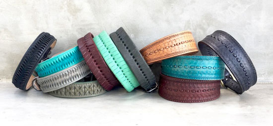 The Vagabond Dogs collar and lead collection features hand stitching, painting, leatherwork, embroidery and bespoke details in a variety of high end styles.