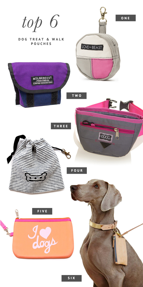 6 of the BEST Dog Treat Pouches - cute clutches to hold your keys, poop bags, and treats on dog walks