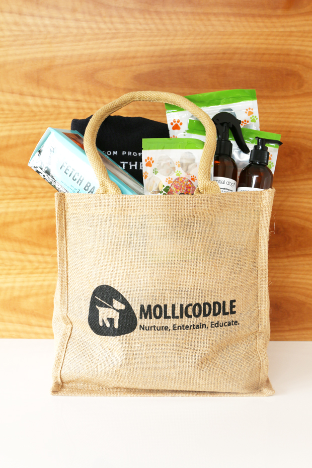 Mollicoddle dog gift boxes are luxury dog goodies delivered straight to your door every month. No filler - just designer dog goods your dog will love.