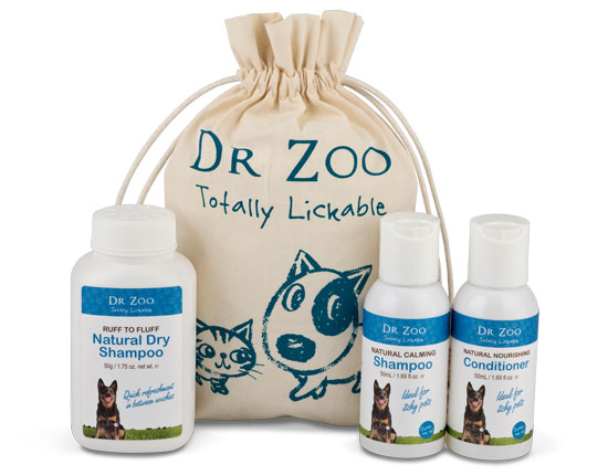 This handy pack contains bite-size refreshments of Dr Zoo's most-loved dog grooming products to give your pup a quick refreshment on the run.