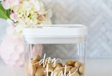 Free printable labels and expert tips for stylish, modern dog food storage. Includes labels and tips for dry food, wet food and dog treat storage.