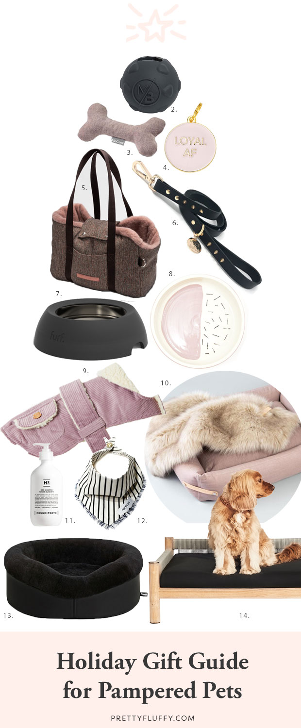 The ultimate holiday gift guide for pampered pets - the best stocking stuffers, dog treats, toys and accessories to spoil your dog this holiday season.