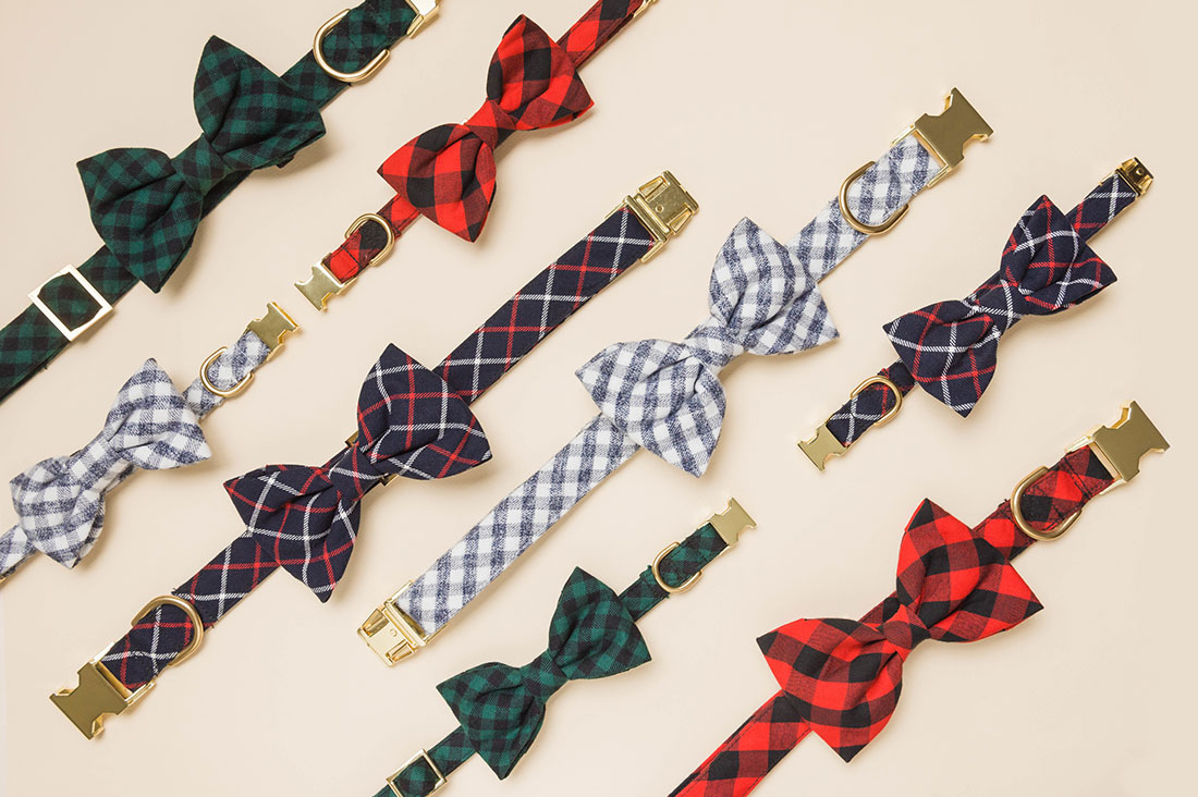 Our favorite picks from The Foggy Dog holiday collection - featuring festive dog collars, bandanas, and bow ties in a range of tartans and holiday patterns.