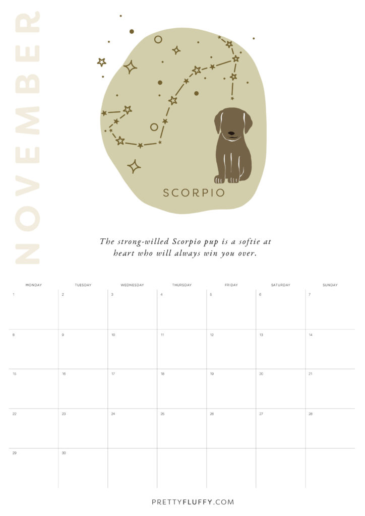 Dog Zodiac Free Printable Calendar for 2021_Libra