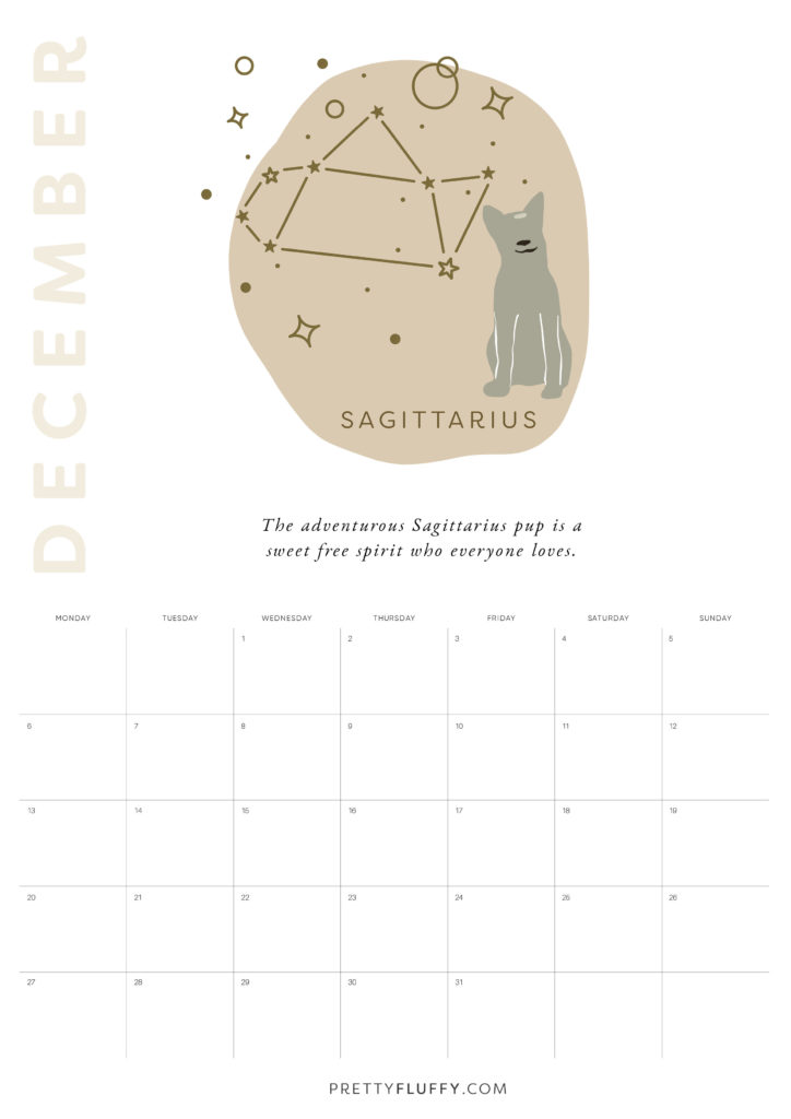 Dog Zodiac Free Printable Calendar for 2021_Sagitarius