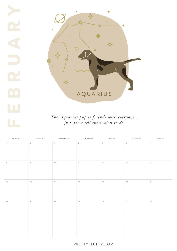 Dog Zodiac Free Printable Calendar for 2021_Aquarius