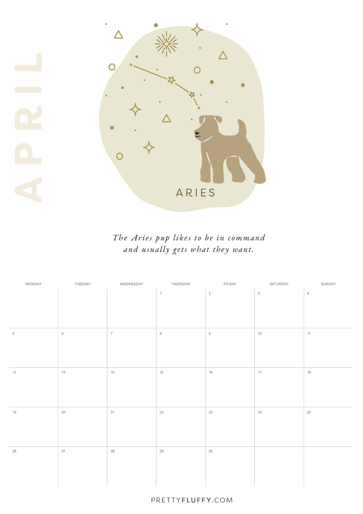 Dog Zodiac Free Printable Calendar for 2021_Aries