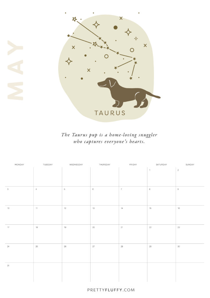 Dog Zodiac Free Printable Calendar for 2021_Taurus