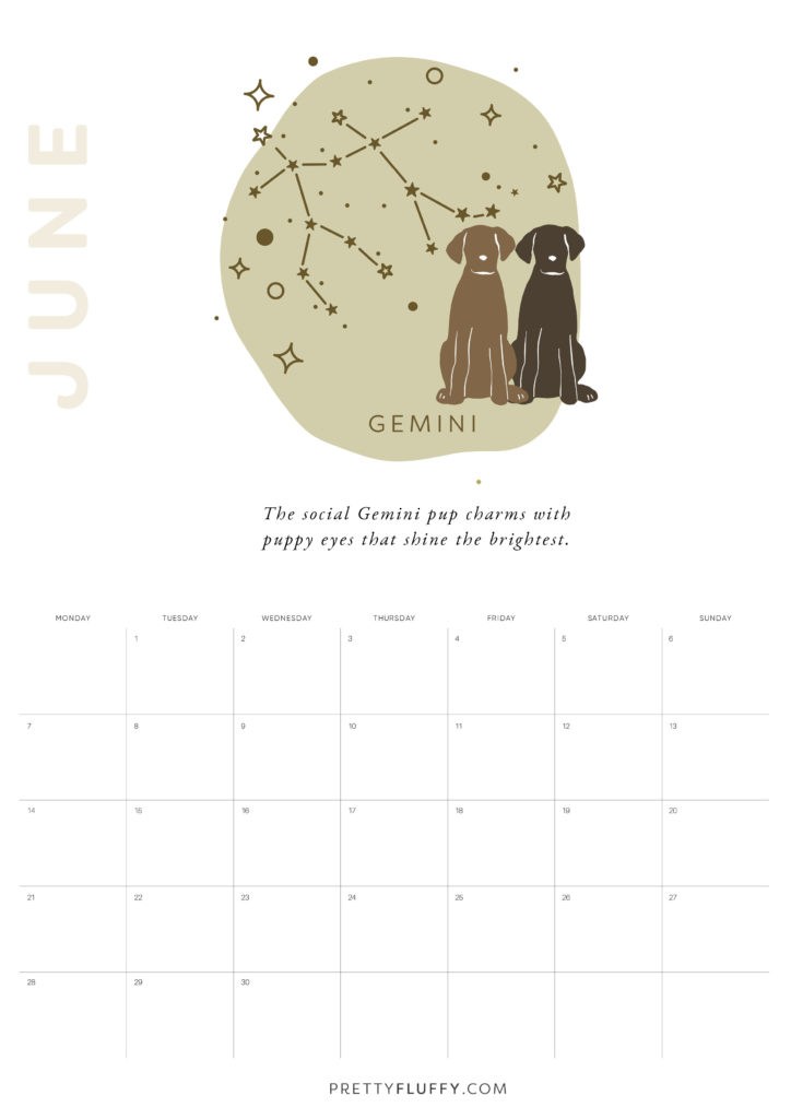 Dog Zodiac Free Printable Calendar for 2021_Gemini