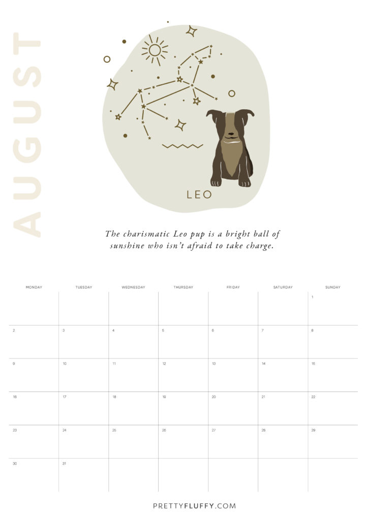 Dog Zodiac Free Printable Calendar for 2021_Leo