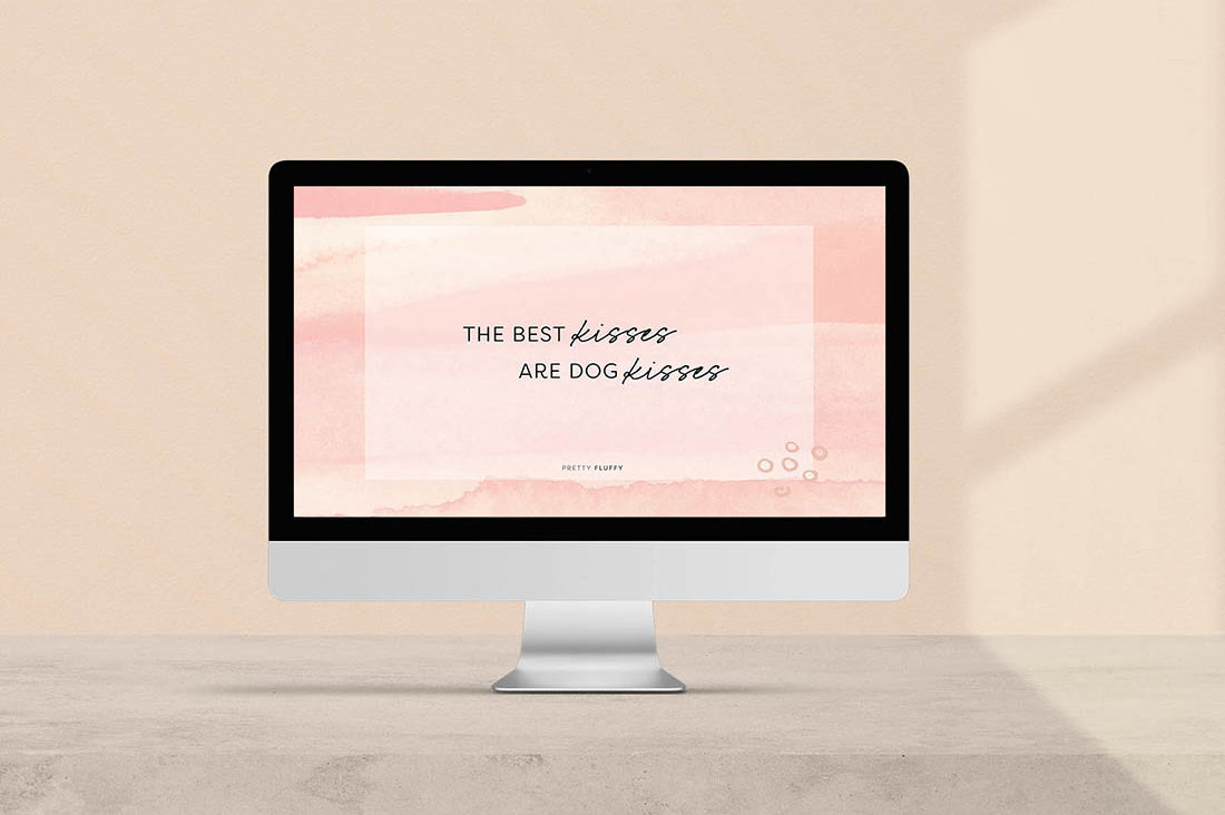 The Best Kisses are Dog Kisses - Free Dog Quote Desktop Wallpaper