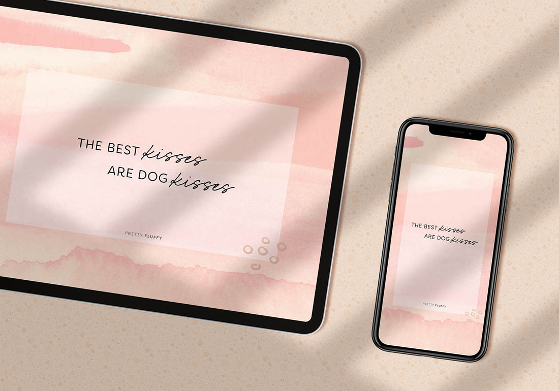The Best Kisses are Dog Kisses Dog Quote - Ipad and Mobile Screensaver