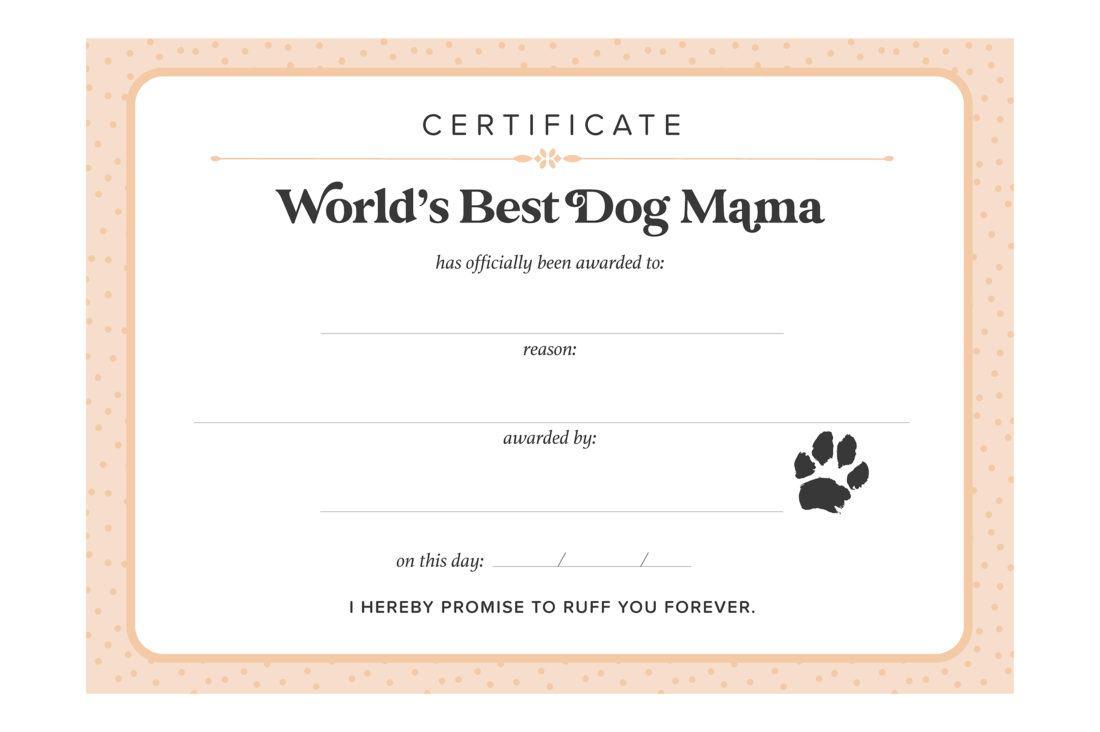 Free Printable World's Best Dog Mama Certificate by Pretty Fluffy